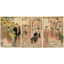 Torii Kiyonaga: Ushiwaka Serenading Joruri-hime (Ushiwaka-maru to Joruri-hime) - Art Institute of Chicago