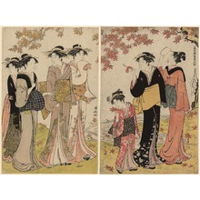 Torii Kiyonaga: Beauties under a Maple Tree, from the series A Contest of Fashionable Beauties of the Gay Quarters (Tosei yuri bijin awase) - Art Institute of Chicago