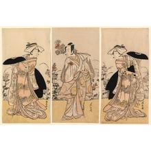 Torii Kiyonaga: Bando Mitsugoro II as Tennen no Mansaku-kitsune and Ichikawa Monnosuke III as Nikaido Shinanonosuke and Iwai Hanshiro IV as Okura no Kojoro-kitsune in the scene from the drama Moto Mishi Yuki Sakae Hachi-no-ki (Nidaime Bando Mitsugoro no Tennen no mansaku-kitsune, nidaime Ichikawa Monnosuke no Nikaido Shinanonosuke, yondaime Iwai Hanshiro no Okura no kojyoro-kitsune) - Art Institute of Chicago