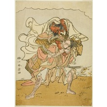 勝川春章: The Warrior Omori Hikoshichi Carrying a Female Demon on His Back - シカゴ美術館