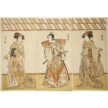 Katsukawa Shunsho: The Actors Onoe Tamizo I as Nishikigi (?) or Otae (?) (right), Ichikawa Danjuro V as Miura Heidayu Kunitae (?) (center), and Osagawa Tsuneyo II as Oyuki (?) (left), in the Play Date Nishiki Tsui no Yumitori (?), Performed at the Morita Theater (?) in the Eleventh Month, 1778 (?) - Art Institute of Chicago