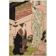勝川春章: The Actor Sawamura Sojuro III (right), in His Dressing Room in Conversation with the Actor Segawa Kikunojo III (left) - シカゴ美術館