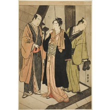 勝川春章: The Actors Ichikawa Monnosuke II (left), Iwai Hanshiro IV (center), and Iwai Karumo (?) (right), on a Landing Backstage - シカゴ美術館