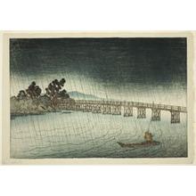 伊東深水: Kara Bridge at Seta (Seta no Karahashi), from the series