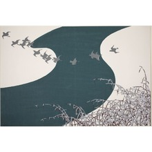 Kamisaka Sekka: Plovers Flying Across a River above Snow-Laden Reeds (Fuyu no Kawa), from the series