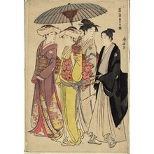 Torii Kiyonaga: A Brocade of Eastern Manners (Fûzoku Azuma no nishiki): Two Daughters of a Bannerman with a Serving Woman and a Young Man - Art Institute of Chicago
