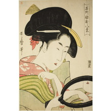 Kitagawa Utamaro: Eight Famous Views of Women (Meisho koshikake hakkei) : Woman Holding a Mirror - Art Institute of Chicago
