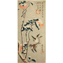Utagawa Hiroshige: Camellias and Sparrows in Falling Snow - Art Institute of Chicago