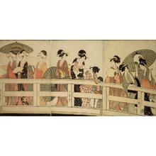 Kitagawa Utamaro: On top and beneath Ryogoku Bridge (Ryogokubashi no ue, shita) - Art Institute of Chicago