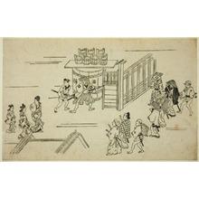菱川師宣: Scene in the Yoshiwara, from the series