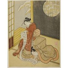 鈴木春信: A Man and Woman Reading a Letter in the Kotatsu - シカゴ美術館