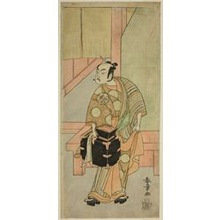 勝川春章: The Actor Ichimura Uzaemon IX as the Hairdreser Komagata Ikkaku in the Play Fuji no Yuki Kaikei Soga, Performed at the Ichimura Theater in the First Month, 1770 - シカゴ美術館