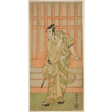 勝川春章: The Actor Nakamura Nakazo I as Kudo Saemon Suketsune (?) in the Play Sakai-cho Soga Nendaiki (?), Performed at the Nakamura Theater (?) in the First Month, 1771 (?) - シカゴ美術館