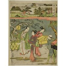 勝川春章: Tokaiji no Bansho, from the series