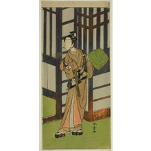 勝川春章: The Actor Onoe Tamizo I as Kewaizaka no Shosho Disguised as a Komuso in the Play Furisode Kisaragi Soga, Performed at the Ichimura Theater in the Second Month, 1772 - シカゴ美術館