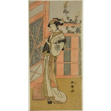 勝川春章: The Actor Nakamura Noshio I as Misao Disguised as a Komuso in the Play Kosode-gura no Tekubari, Performed at the Morita Theater in the Second Month, 1772 (?) - シカゴ美術館