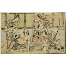 勝川春章: The Actors Ichikawa Yaozo II as Kujaku no Saburo, Matsumoto Koshiro II as Hata no Daizen Taketora, Nakajima Mihoemon II as Aramaki Mimishiro, and Nakamura Shocho I as Ki no Tsurayuki (right to left), in the Play Kuni no Hana Ono no Itsumoji, Performed at the Nakamura Theater in the Eleventh Month, 1771 - シカゴ美術館