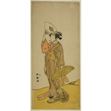 勝川春章: The Actor Nakamura Matsue I as Kasaya Sankatsu (?) in the Play Hana no Gosho Konegen Butai (?), Performed at the Nakamura Theater (?) in the Eighth Month, 1772 (?) - シカゴ美術館