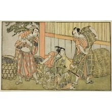 勝川春章: The Actors Kasaya Matakuro II as Hagun Taro (right), Ichikawa Monnosuke II as Izutsu no Suke Narihira (center), and Nakamura Nakazo I as Kose no Kanaoka Disguised as Sogoro the Charcoal Maker, in the Play Kuni no Hana Ono no Itsumoji, Performed at the Nakamura Theater in the Eleventh Month, 1771 - シカゴ美術館