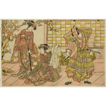 勝川春章: The Actors Ichikawa Danjuro V as Miura Kunitae (right), Segawa Kikunojo III as Yasukata (center), and Iwai Hanshiro IV as Utou (left), in the Play Godai Genji Mitsugi no Furisode, Performed at the Nakamura Theater in the Eleventh Month, 1782 - シカゴ美術館