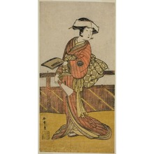勝川春章: The Actor Yamashita Kinsaku II as Oishi (?) in the Play Kanadehon Chushin Nagori no Kura (?), Performed at the Nakamora Theater (?) in the Ninth Month, 1780 (?) - シカゴ美術館