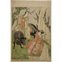 勝川春好: The Actors Segawa Kikunojo III as Princess Hatsune (Hatsune Hime) (right), and Ichikawa Monnosuke II as Miyukinosuke Yukinari, in the Play Otokoyama Furisode Genji, Performed at the Kiri Theater in the Eleventh Month, 1785 - シカゴ美術館