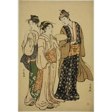 勝川春英: The Actor Iwai Hanshiro IV in Street Attire (by Shun'ei) Conversing with Two Women (by Shuncho) - シカゴ美術館