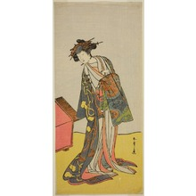 勝川春章: The Actor Iwai Hanshiro IV as the Courtesan Agemaki in the Play Sukeroku Yukari no Hatsu-zakura, Performed at the Ichimura Theater in the Third Month, 1776 - シカゴ美術館