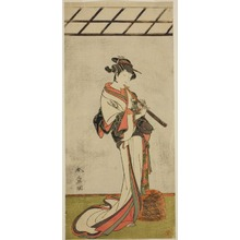 勝川春章: The Actor Onoe Tamizo I as Oiso no Tora or Kewaizaka no Shosho, Disguised as a Female Komusu (?), in the Play Yui Kanoko Date-zome Soga (?), Performed at the Ichimura Theater (?) in the First Month, 1774 (?) - シカゴ美術館