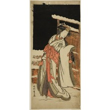 Katsukawa Shunsho: The Actor Segawa Kikunojo III as Lady Shizuka (Shizkua Gozen) Disguised as Tamazusa in the Play Chigo Torii Tobiiri Kitsune, Performed at the Ichimura Theater in the Eleventh Month, 1777 - Art Institute of Chicago