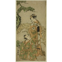 Katsukawa Shuncho: The Actors Nakamura Nakazo I as Matsukaze (right), and Ichikawa Komazo I as Yukihira (left), in the Play Kuni no Hana Ono no Itsumoji, Performed at the Nakamura Theater in the Eleventh Month, 1771 - Art Institute of Chicago