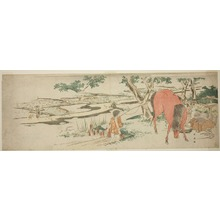 勝川春英: Rural Scene in Early Summer: Peasants Transplanting Rice and a Man Washing a Horse - シカゴ美術館