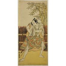 勝川春好: The Actor Bando Mitsugoro I as Ogata no Saburo Disguised as Yoroya Takiemon in the Play Mure Takamatsu Yuki no Shirahata, Performed at the Ichimura Theater in the Eleventh Month, 1780 - シカゴ美術館