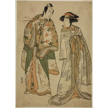 勝川春好: The Actors Segawa Kikunojo III as the Courtesan Sumizome (right), and Ichikawa Monnosuke II as Goinosuke Yoshimine (left), in the Play Juni-hitoe Komachi-zakura, Performed at the Kiri Theater in the Eleventh Month, 1784 - シカゴ美術館
