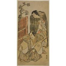 勝川春好: The Actors Nakamura Nakazo I as Kagekiyo Dressed as a Beggar (right), and Otani Hiroji III as Onio Shinzaemon (left), in the Play Kotobuki Banzei Soga, Performed at the Ichimura Theater in the Third Month, 1783 - シカゴ美術館