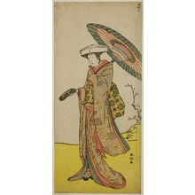 勝川春好: The Actor Nakayama Kojuro VI as Chinzei Hachiro Tametomo Disguised as Lady Hotoke (Hotoke Gozen) in the Play Yukimotsu Take Furisode Genji, Performed at the Nakamura Theater in the Eleventh Month, 1785 - シカゴ美術館