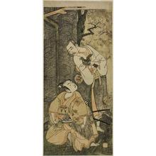 一筆斉文調: The Actors Nakamura Utaemon I as Seigen (right), and Ichikawa Komazo II as Shimizu Tonoinosuke Kiyoharu (left), in the Play Soga Moyo Aigo no Wakamatsu, Performed at the Nakamura Theater in the Third Month, 1769 - シカゴ美術館