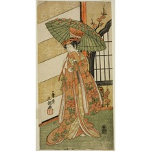 Ippitsusai Buncho: The Actor Onoe Tamizo I as Nishikigi in the Play Mutsu no Hana Ume no Kaomise, Performed at the Ichimura Theater in the Eleventh Month, 1769 - Art Institute of Chicago