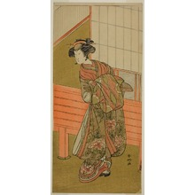 勝川春好: The Actor Segawa Kikunojo III as the Courtesan Takamura of Onoteruya (?) in the Play Sugata no Hana Yuki no Kuromushi (?), Performed at the Ichimura Theater (?) in the Eleventh Month, 1776 (?) - シカゴ美術館