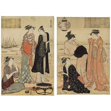 鳥居清長: The Twelve Months in the Southern Quarter (Minami jûni kô): The Sixth Month-Enjoying the Cool in a Teahouse - シカゴ美術館