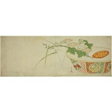 Katsukawa Shunsho: Plants, Porcelain Bowl, and Glass Goblet - Art Institute of Chicago