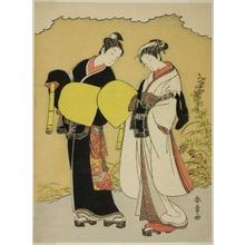 Katsukawa Shunsho: Lovers Dressed as Komuso Monks in an Autumn Landscape - Art Institute of Chicago