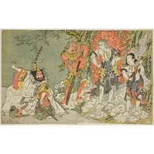 Katsukawa Shunsho: The Actors Sawamura Kijuro I as Ikazuchi Shinno, Prince of Thunder (far left), Ichikawa Danjuro V as the Buddhist Deity Fudo (second from left), Nakamura Sukegoro II as Seitaka Doji (second from right), and Bando Mitsugoro I as Kongara Doji (far right), in the Play Fuki Kaete Tsuki mo Yoshiwara (Rethatched Roof: The Moon also Shines Over the Yoshiwara Pleasure District), Performed at the Morita Theater in the Eleventh Month, 1771 - Art Institute of Chicago