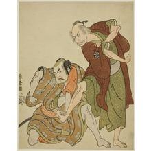 勝川春章: The Actors Nakamura Nakazo I as Mikawaya Giheiji (right), and Nakamura Sukegoro II as Danshichi Kurobei (left), in