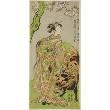 Ippitsusai Buncho: The Actor Segawa Kikunojo II as the Courtesan Maizuru in the Play Furisode Kisaragi Soga (Soga of the Long, Hanging Sleeves in the Second Month), Performed at the Ichimura Theater from the Twentieth Day of the Second Month, 1772 - Art Institute of Chicago
