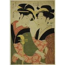 長喜: The Entertainer Tamino and the Serving Girl Nui of the Sumiyoshiya - シカゴ美術館
