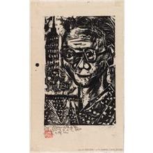 棟方志功: Self-Portrait with Empire State Building - シカゴ美術館