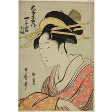 Kitagawa Utamaro: Hitomoto of the Daimonjiya with Attendants Senkaku and Banki - Art Institute of Chicago
