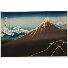 葛飾北斎: Shower Below the Summit (Sanka hakuu), from the series Thirty-six Views of Mount Fuji (Fugaku sanjurokkei) - シカゴ美術館
