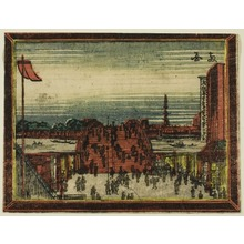 葛飾北斎: Ryogoku Bridge, from the series Dutch-style Pictures: Eight Views of Edo (Oranda gakyo Edo hakkei) - シカゴ美術館